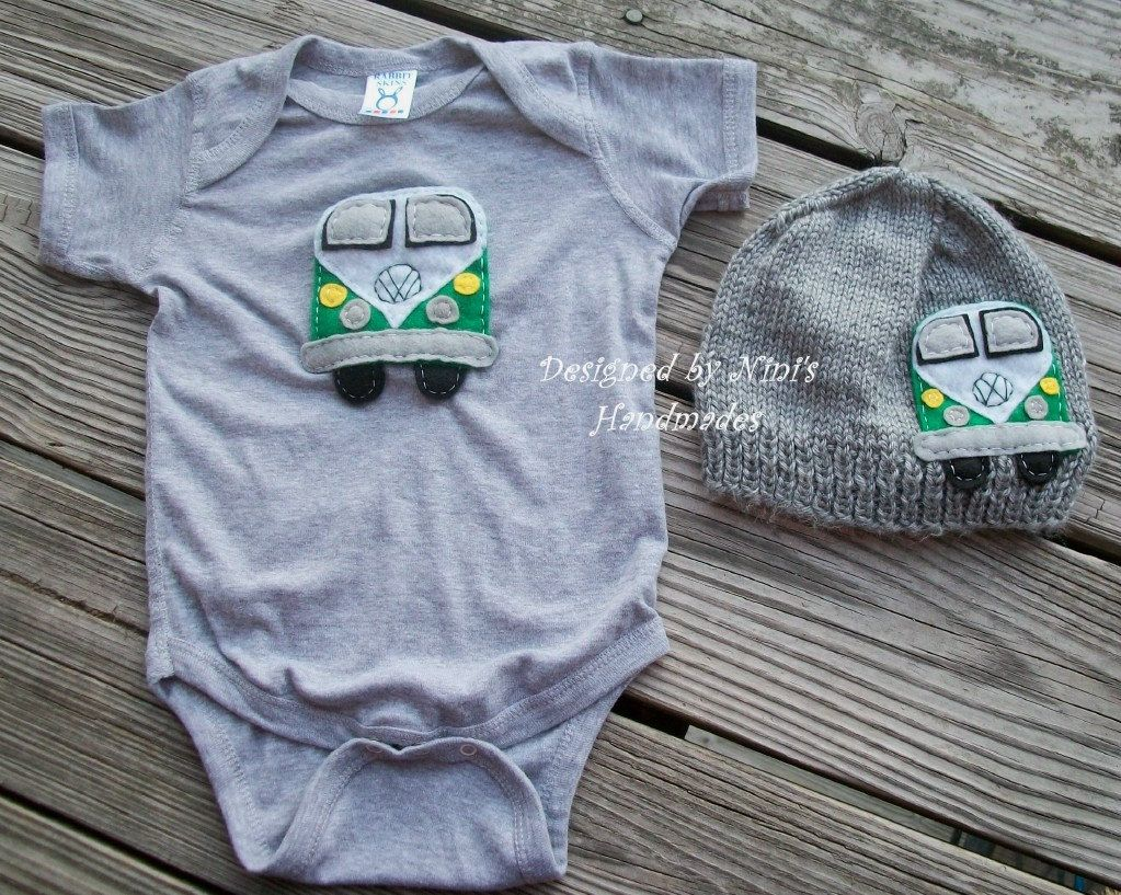 Knit Vw Bus Baby Hat Onesie Bodysuit Set Vw Beetle 70