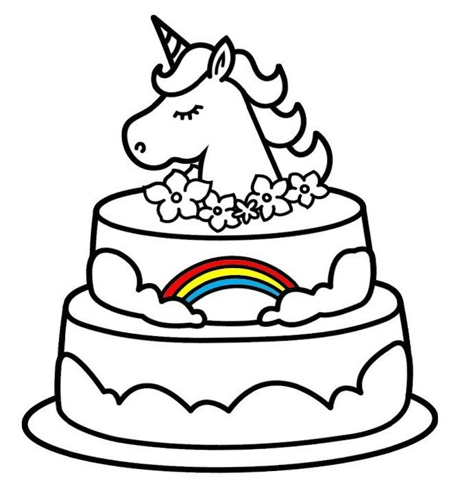 Free Coloring Pages Unicorn Cake Portraits