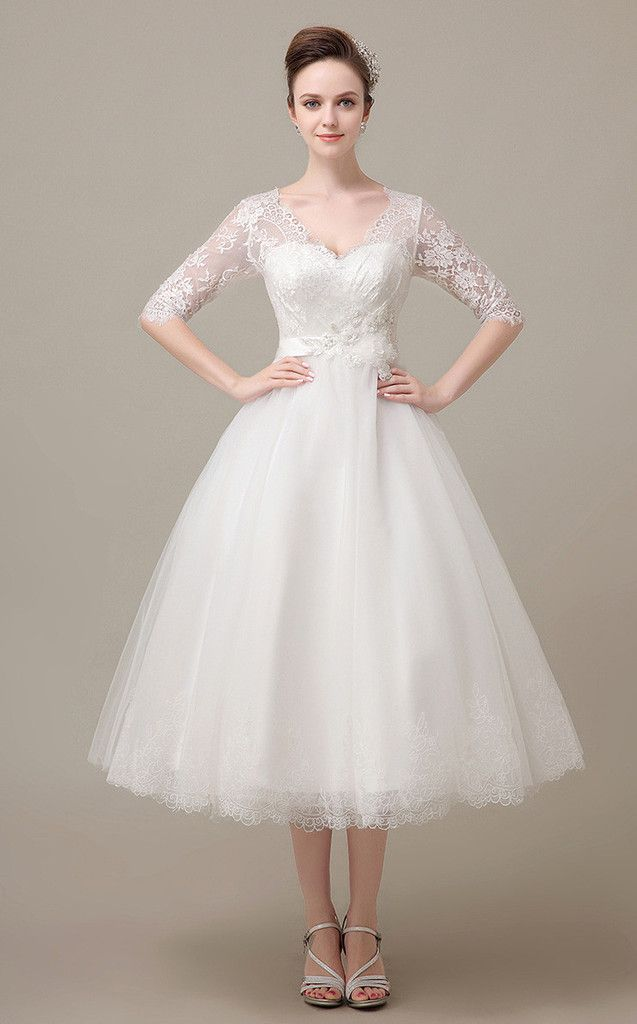 Tea Length Lace Dress With Sleeves Dv2078 Ball Gown Wedding Dress Wedding Dresses Lace Tulle Bridesmaid Dress