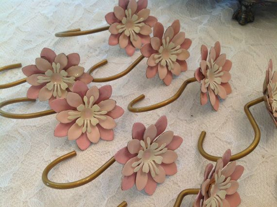 Vintage Shower Curtain Hooks Pink Flowers Enamelware Bathroom Decor ...