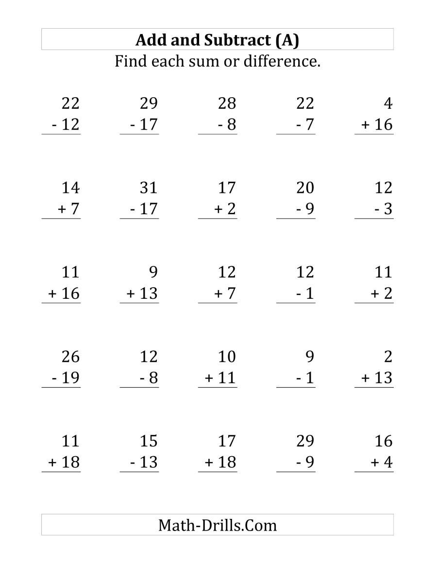 The Adding And Subtracting With Facts From 1 To 20 A Math Worksheet From The Mixed Operations Worksheets Math Subtraction Subtraction Adding And Subtracting Addition and subtraction facts to 20