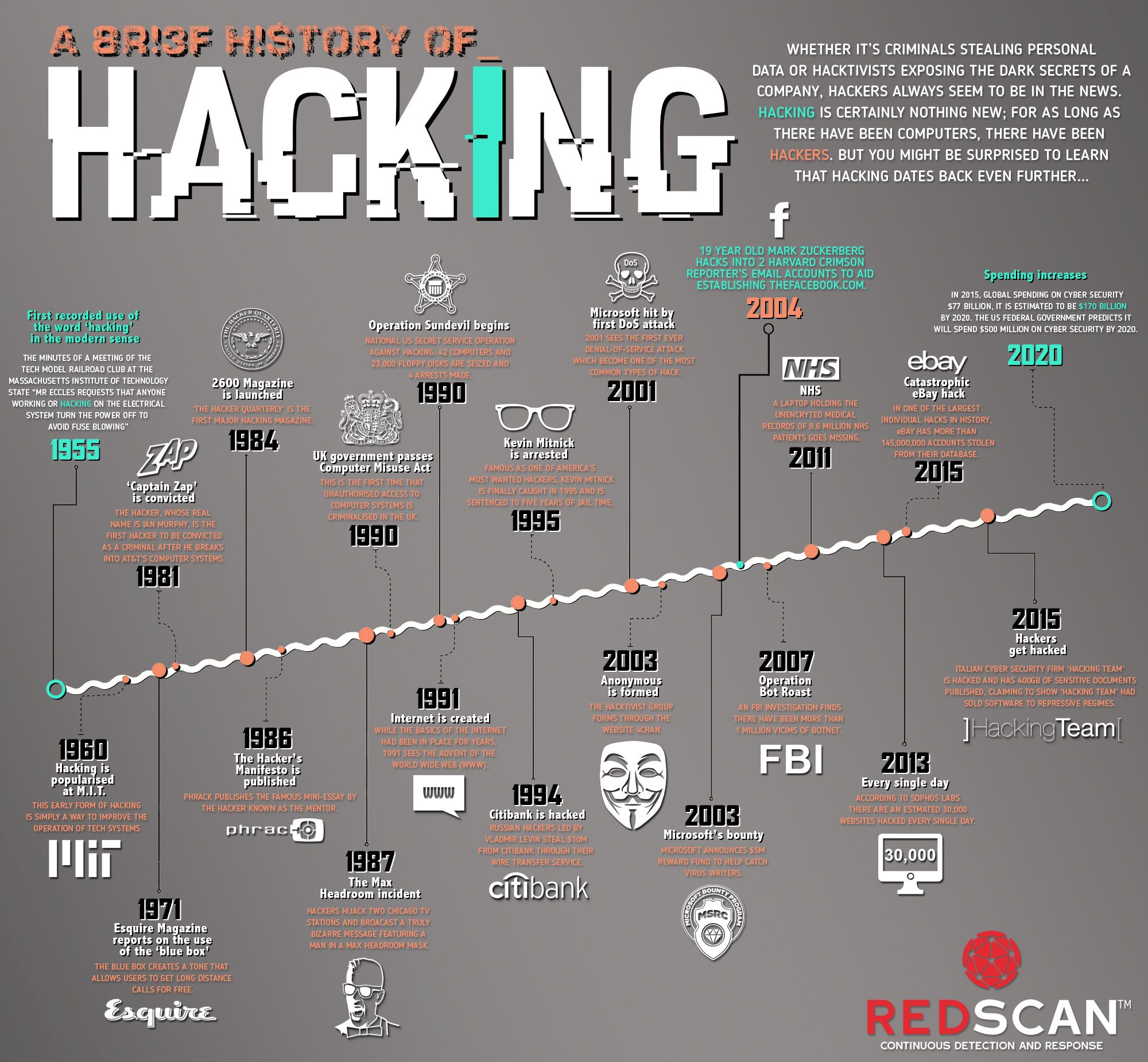 A History of Hacking Infographic, safety, History