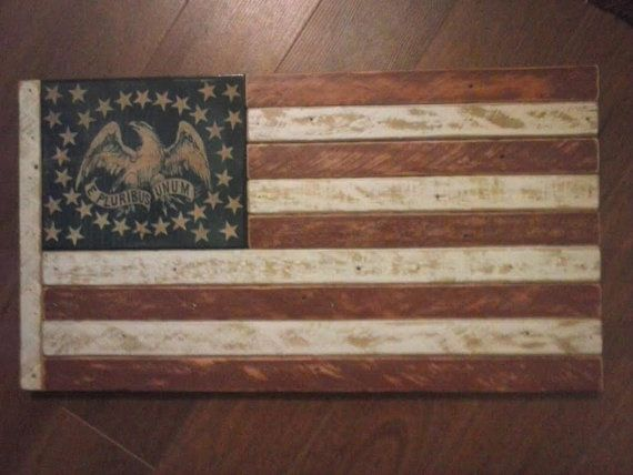 Antique Wood Civil War Era Flag--handmade from genuine recycled wood