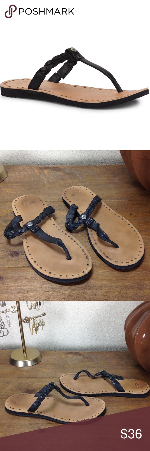 d321f16a22534 UGG Black Braided Leather Flip Flops Black braided leather flip flops with  tan leather soles with