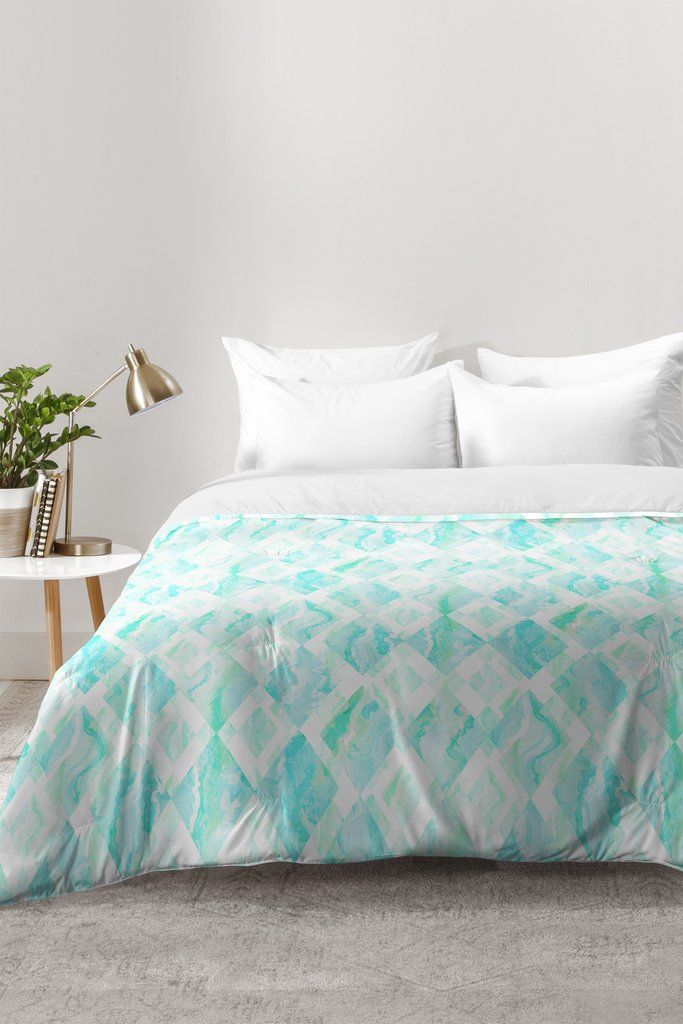 Lisa Argyropoulos Harlequin Marble Mint Comforter | DENY Designs Home Accessories