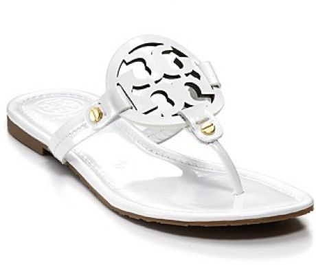 0e9a46b546ad39 Tory Burch Sandals - Miller Thong in White (sand patent)