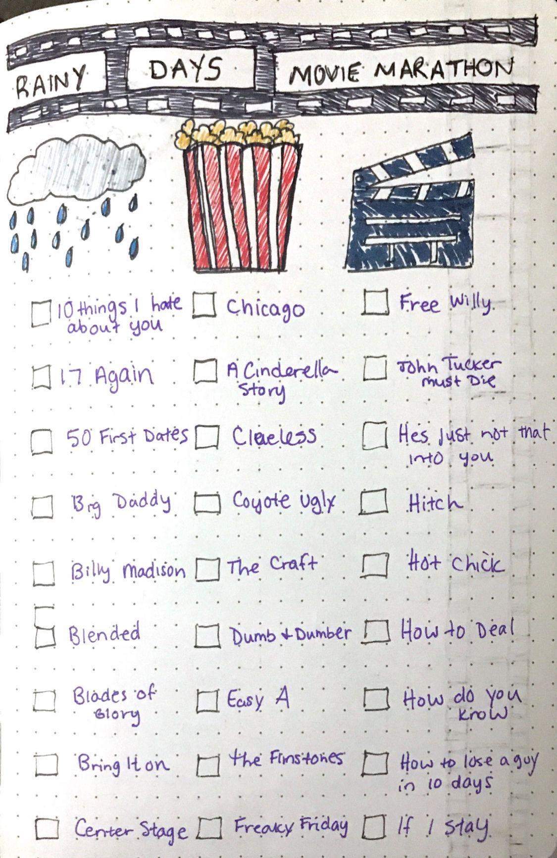Rainy Days Movie Marathon Bulletjournal Movies Watch Rainy