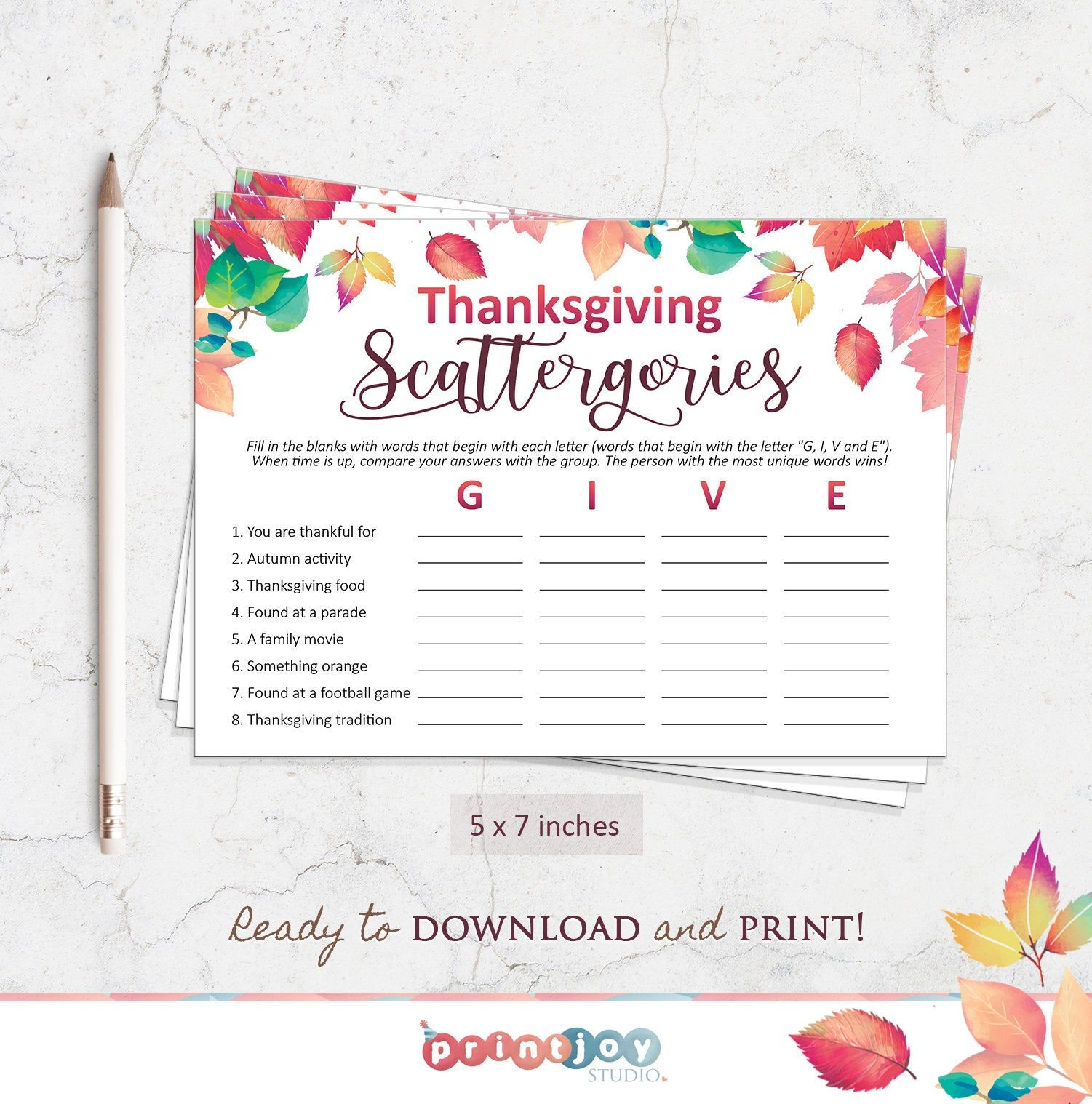 Thanksgiving Games, Printable Scattergories Game for