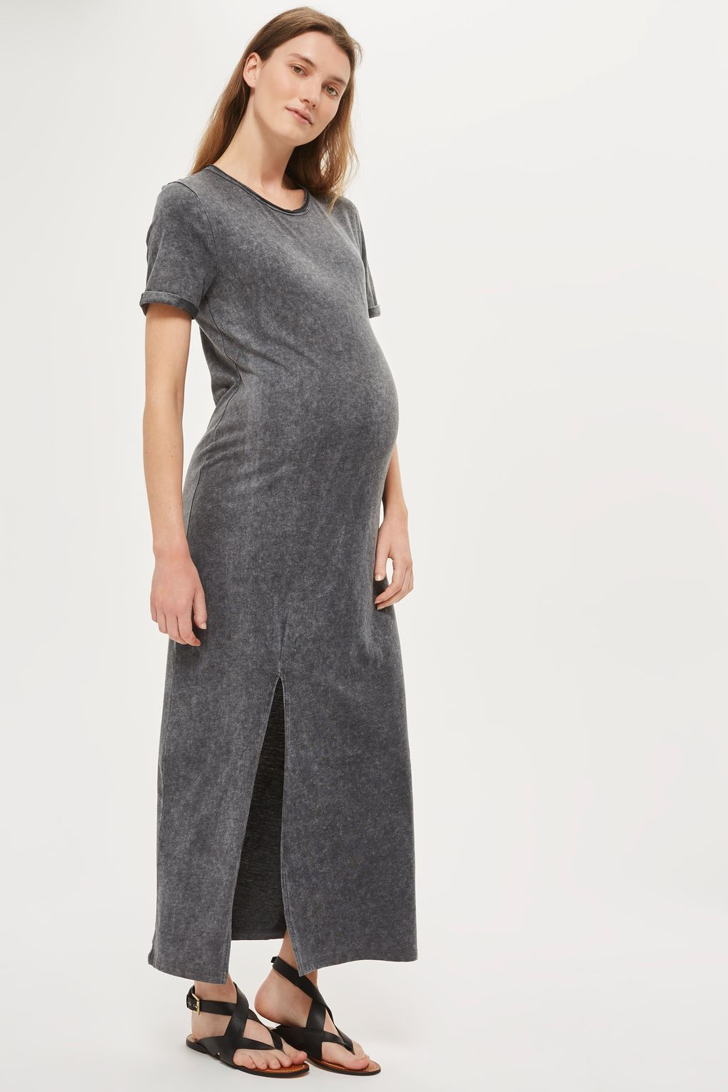 Maternity Washed Split Front Maxi Dress Maternity Clothing