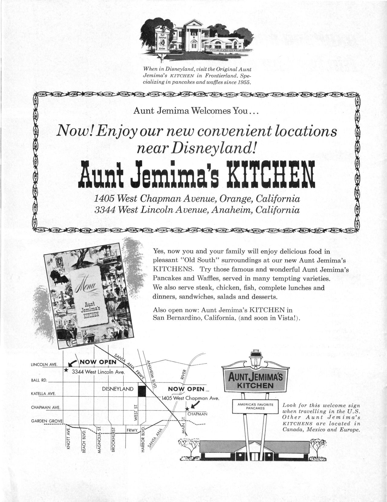 Menu to Aunt Jemima\'s kitchen in Frontierland. 4 pancakes for 45 ...