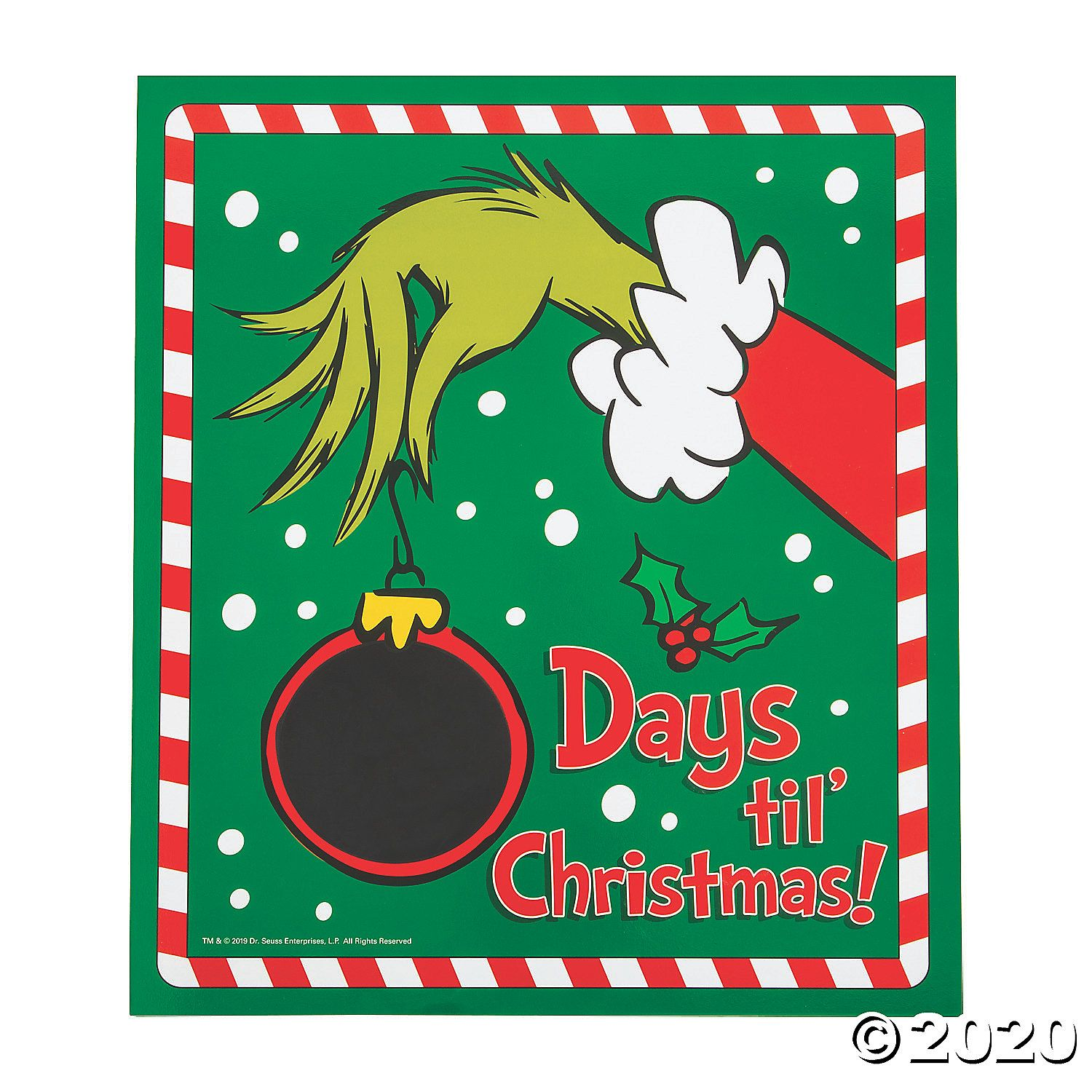 Dr seuss the grinch christmas countdown chalkboard sign