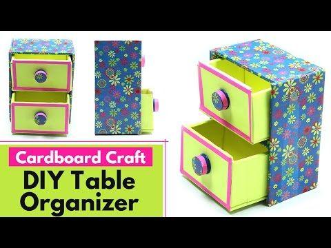 Diy Desk Organizer How To Make Drawer Storage Box Table Organizer Cardboard Craft Youtube Cardboard Crafts Diy Crafts Cardboard Crafts Diy