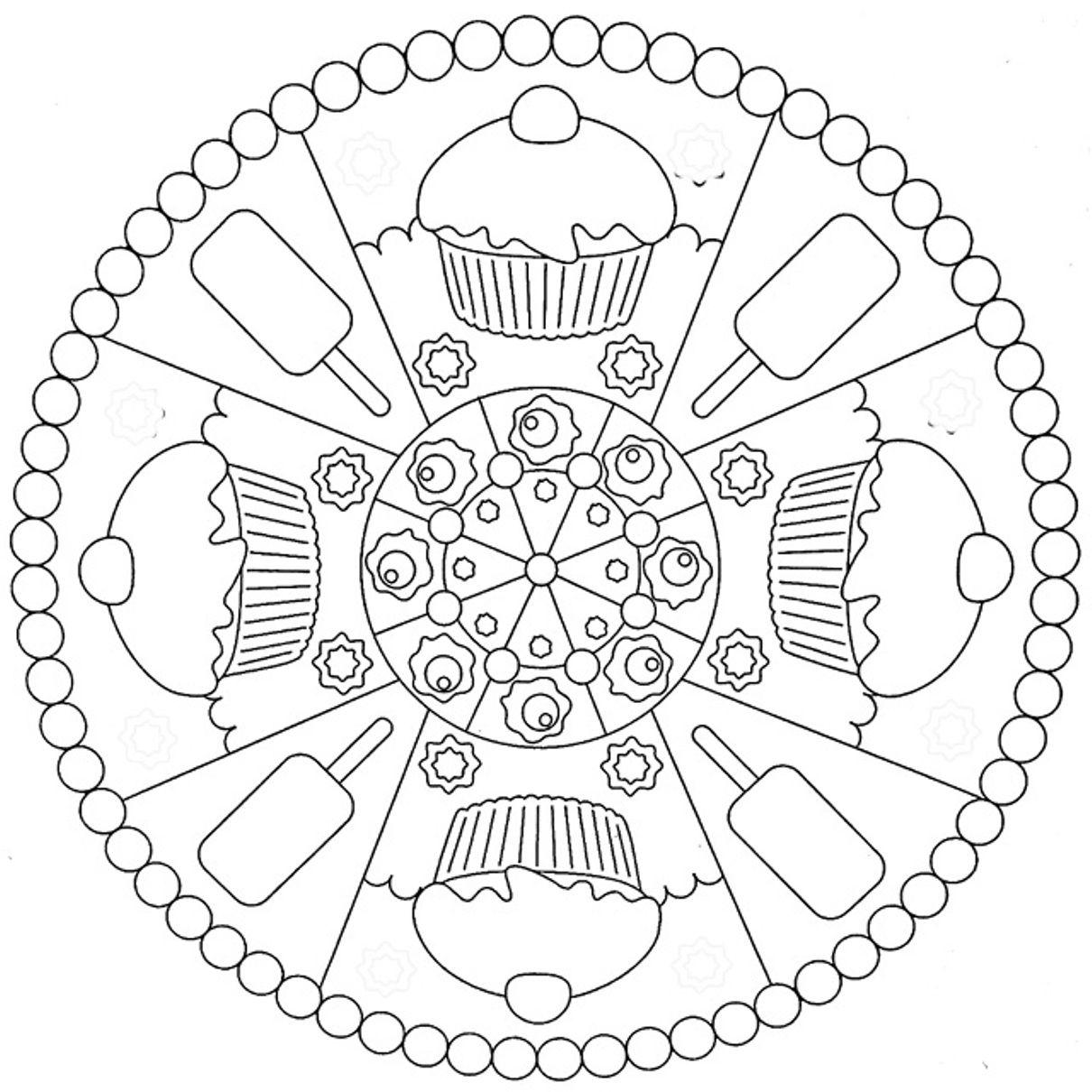 Cookies And Ice Cream Mandala Coloring Pages | Kleurplaten ...