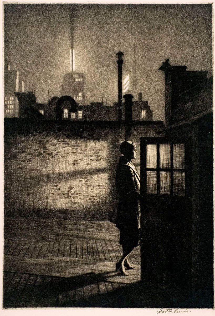 Image result for martin lewis nighttime scenes etching