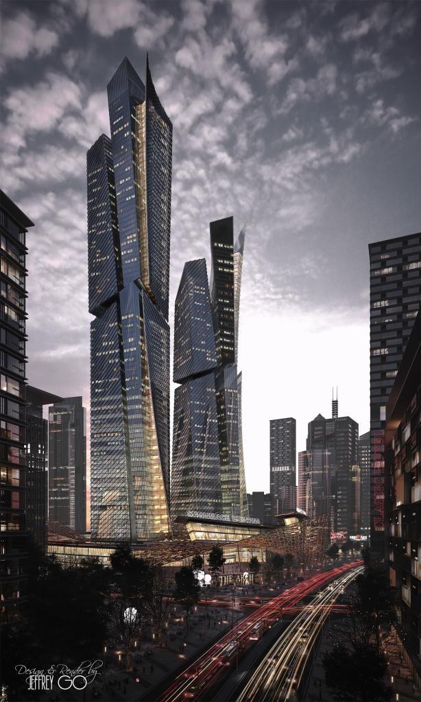 Sequence building done with 3ds max and photoshop arkitectura pinterest hochhaus - Futuristische architektur ...