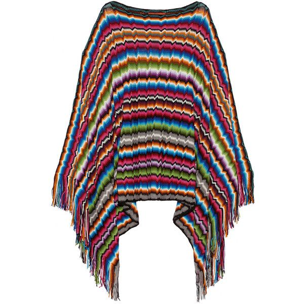 Missoni Fringed crochet-knit poncho (400 CAD) ❤ liked on Polyvore featuring outerwear, blue, missoni poncho, missoni, crochet poncho, knit poncho and blue slip