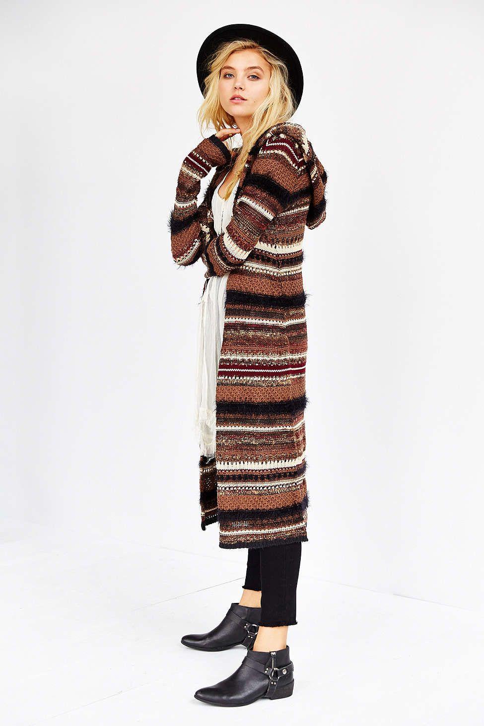 Ecote Mixed Textured Striped Maxi Cardigan |  bohème  | Pinterest ...