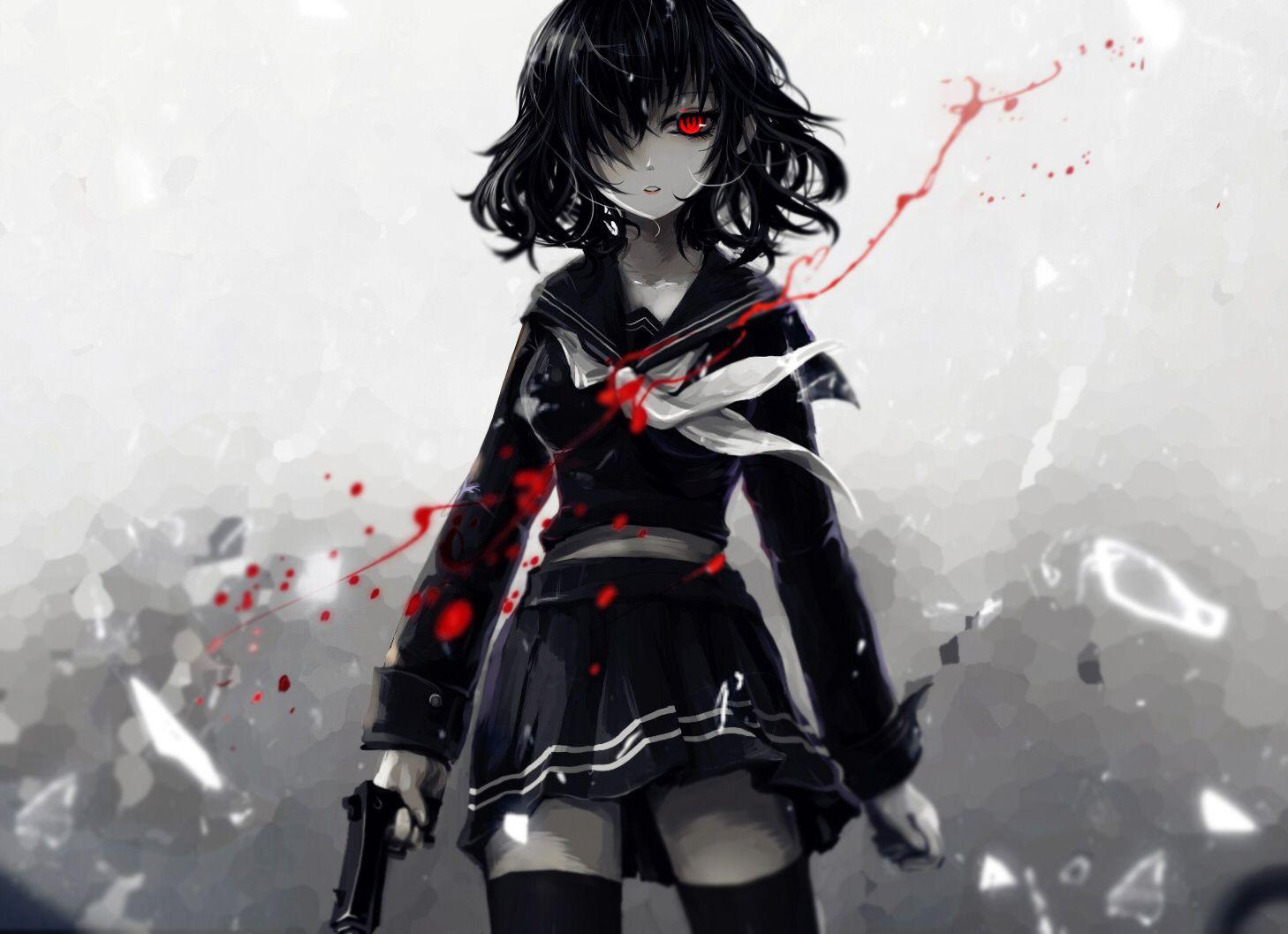 1girl aoiakamaou ascot black_hair blood cowboy_shot glass