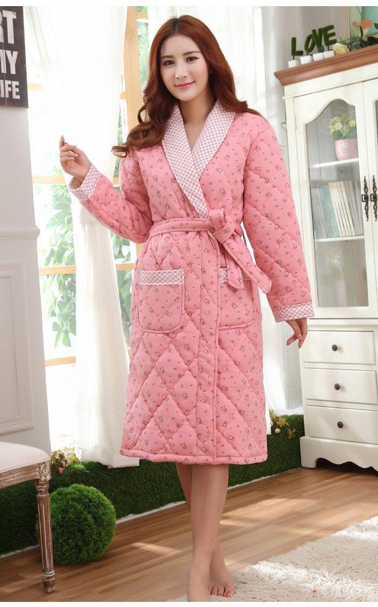 1723bd5ee3656 Женский халат три слоя утолщение теплые зимние женские халаты Большие  размеры XXXL стеганые пижамы Пижама с рисунком женские купить на AliExpress