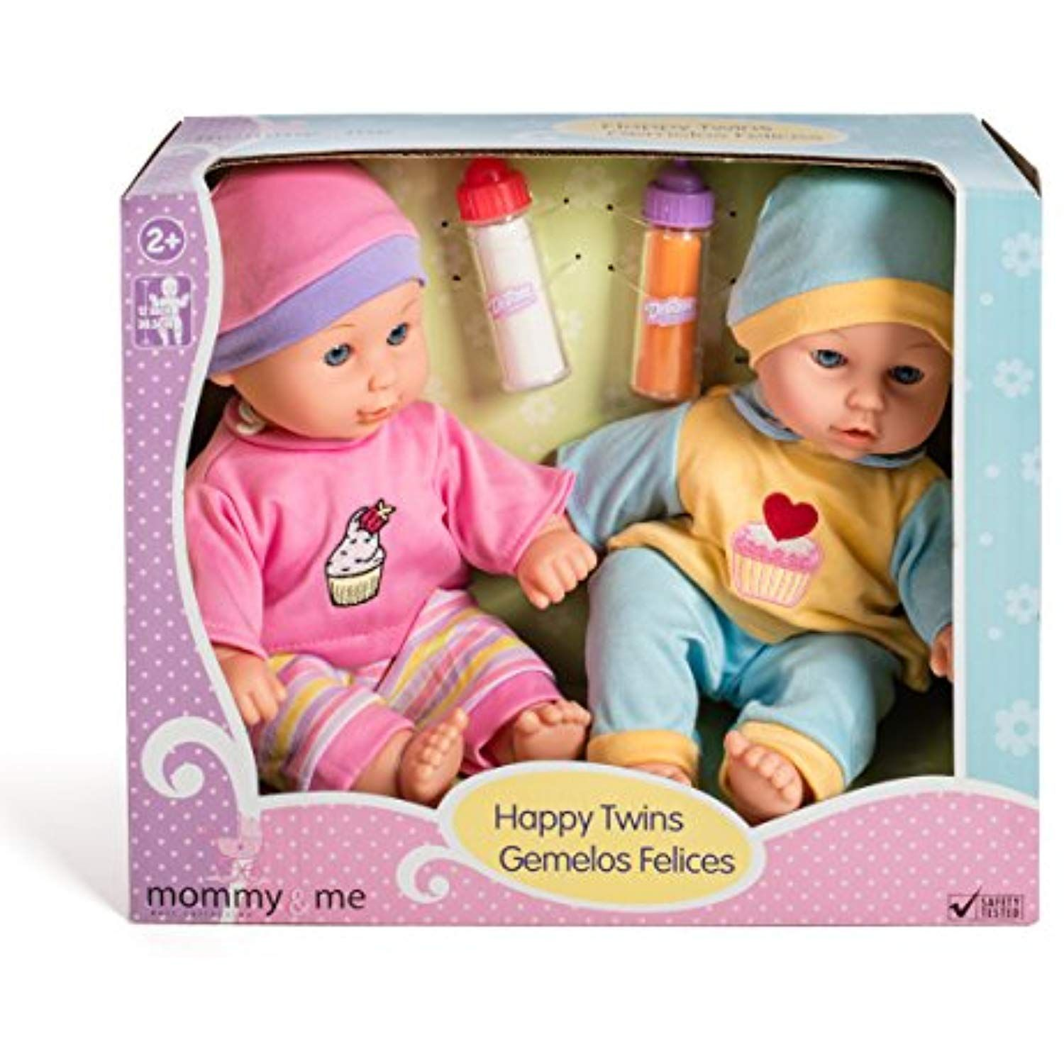 12'' Baby Twins Dolls 1 Boy and 1 Girl with Milk and Juice