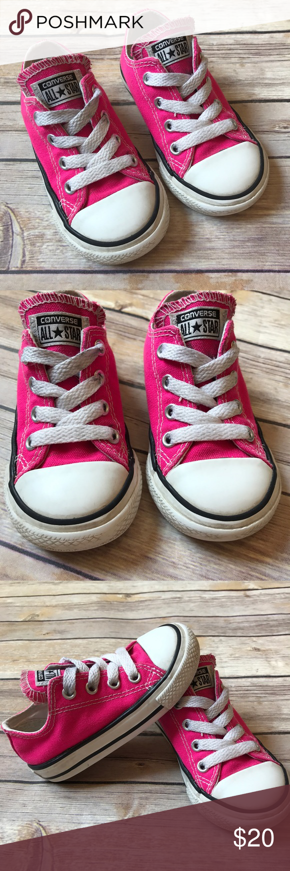 804ea105b470 Hot Pink Converse Size 6 toddler Pink Glo Converse. Clean foot beds. Logos  in VGUC. Toes are a little worn and laces and tongue are a little smudgy  black in ...
