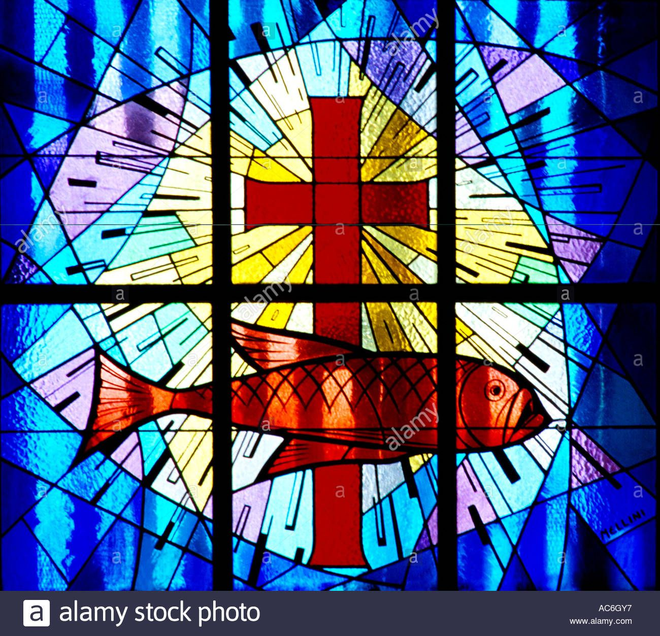 Dubai UAE St Marys Catholic Church Stained Glass Window Symbols Of Fish And Cross