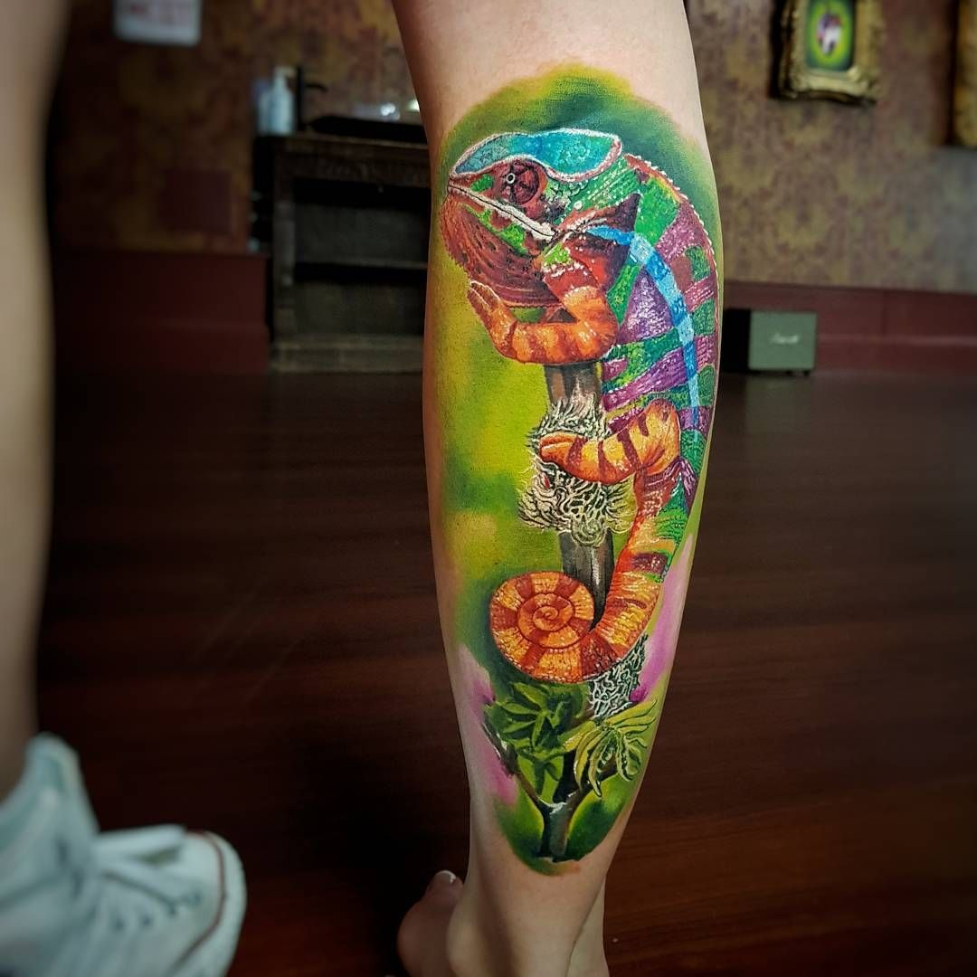Chameleon Arts Tattoo Flash: Chameleon Tattoo By Marek Pawlik
