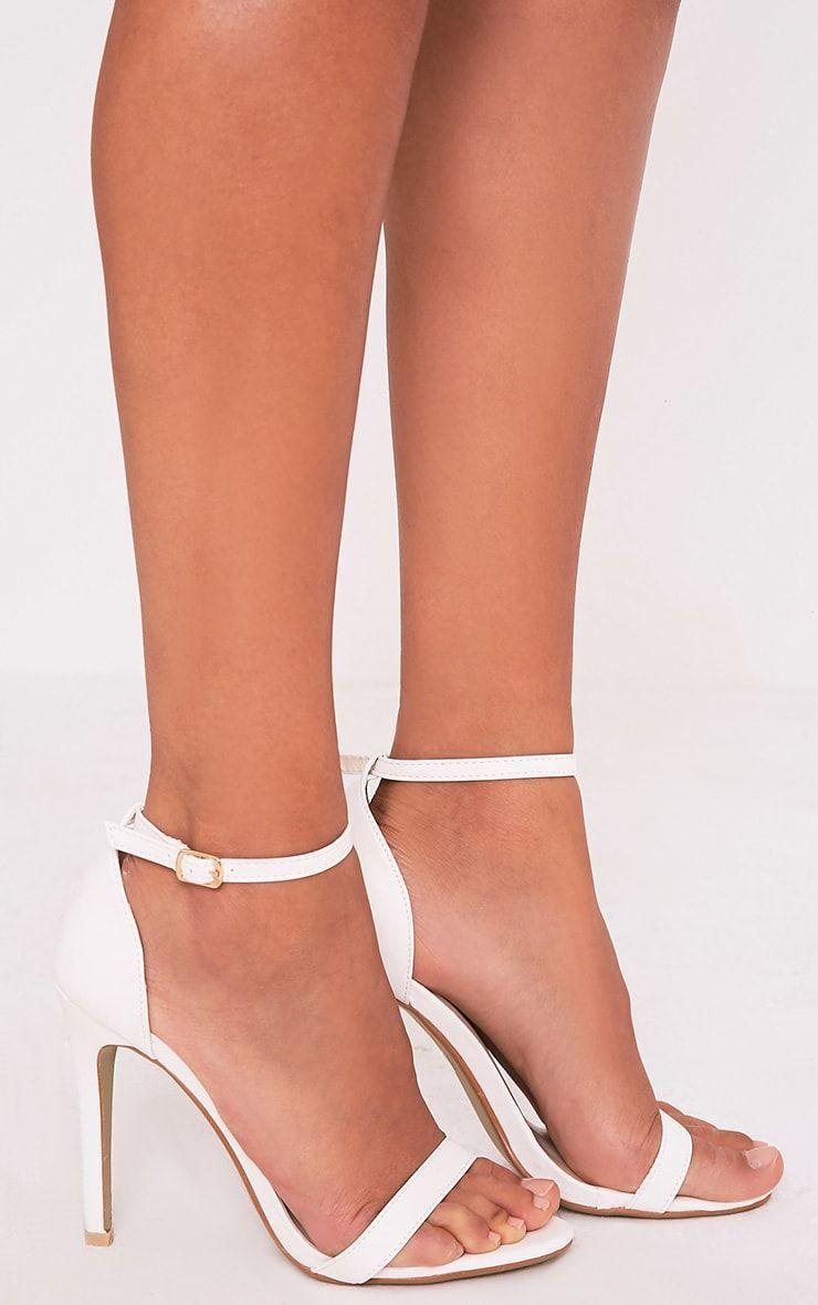 Clover White Strap Heeled Sandals High Heels