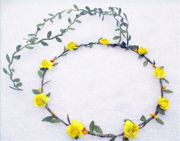 New Bridal Headpiece Bridesmaid Elastic Flower Headband Garland Handmade Floral Crown Hair Accessories Boho Rosette Hairband   - Products -