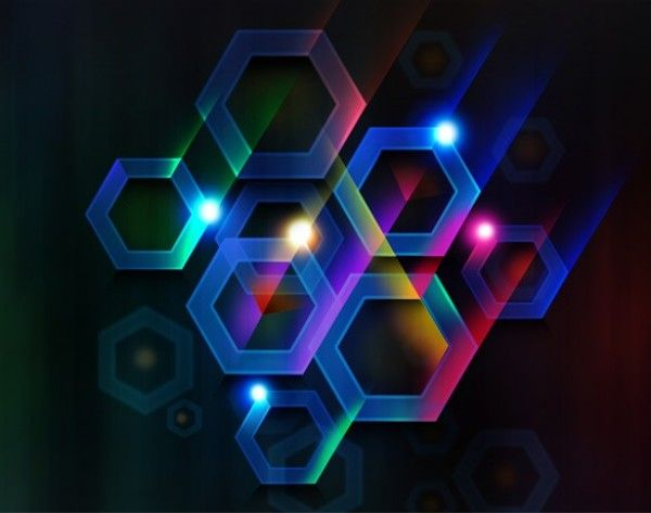 Nice Glowing Hexagon Blue Abstract Background PSD Freebie ...