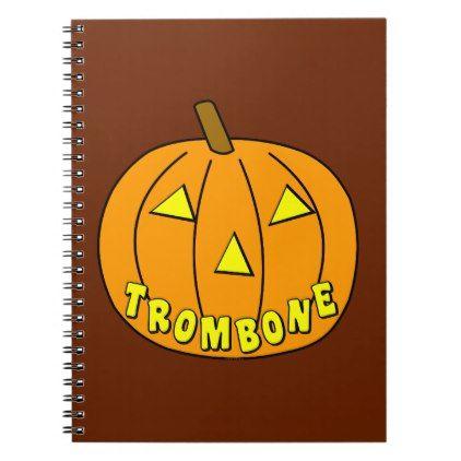 #Trombone Halloween Pumpkin Spiral Notebook - #Halloween #happyhalloween #festival #party #holiday