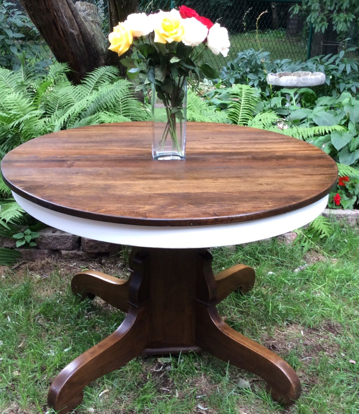 Antique Oak Pedestal Table Refinished In Annie Sloan Pure White Chalk Paint  And Refinished In Dark Walnut Stain.