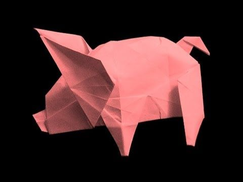 Origami Tutorial - How to fold Origami Pig - YouTube   360x480