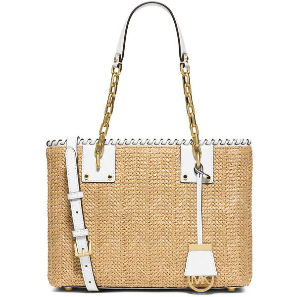 MICHAEL Michael Kors Rosalie Leather-Trim Raffia East-West Tote Bag (913.045 COP) ❤ liked on Polyvore featuring bags, handbags, tote bags, optic white, white tote purse, white tote bag, top handle handbags, tote hand bags and tote purse