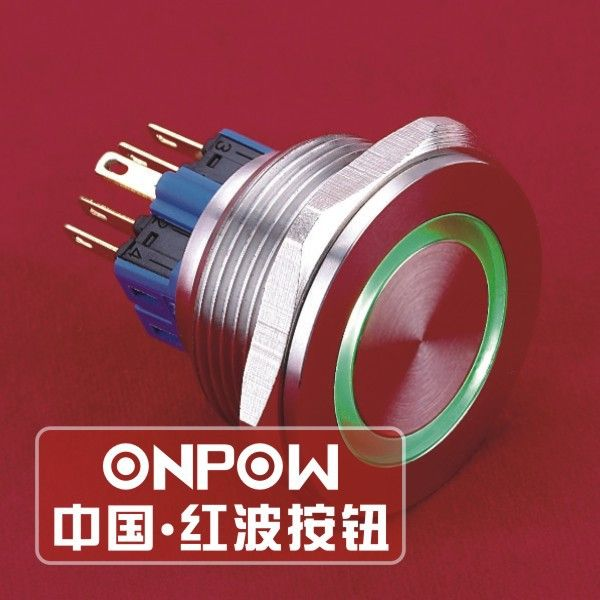 Onpow 30mm Ip65 Latching 12v Green Led Ring Illuminated Stainless Steel Push Button Switch Gq30pf 11ze G 12v S Ce Rohs Green Led Led Ring Red Led