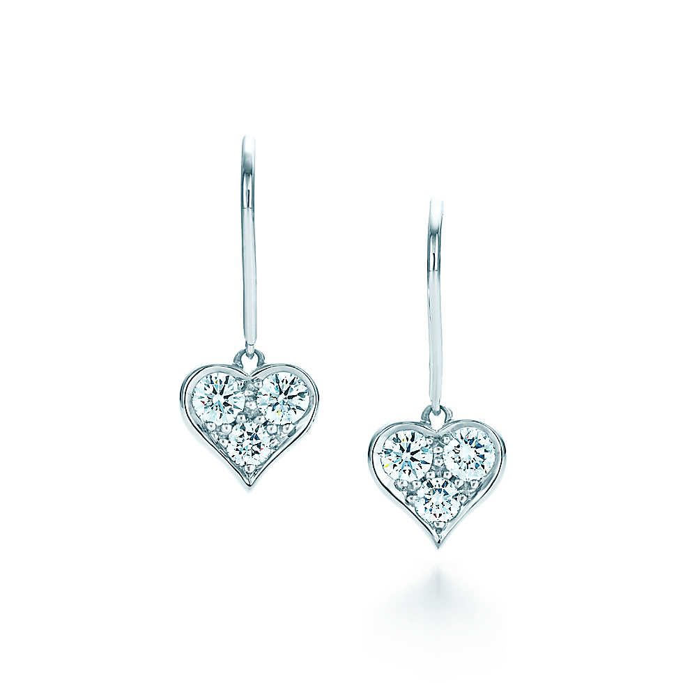 Tiffany Hearts™ drop earrings with diamonds in platinum. | Tiffany & Co.