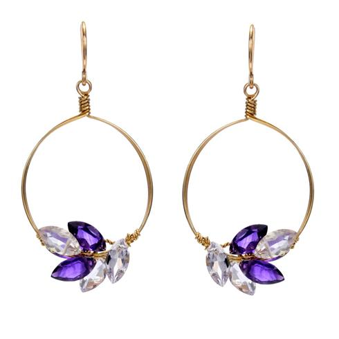 Misha of NY Circle Earrings with Amethyst Marquis Gems