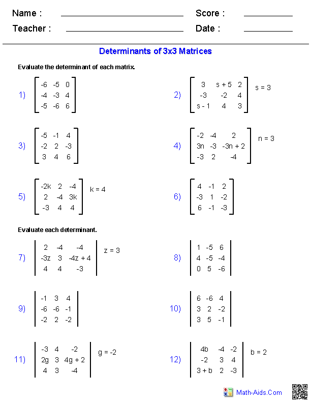 Matrices Worksheets Algebra 2 Worksheets | Math-Aids.Com | Pinterest ...