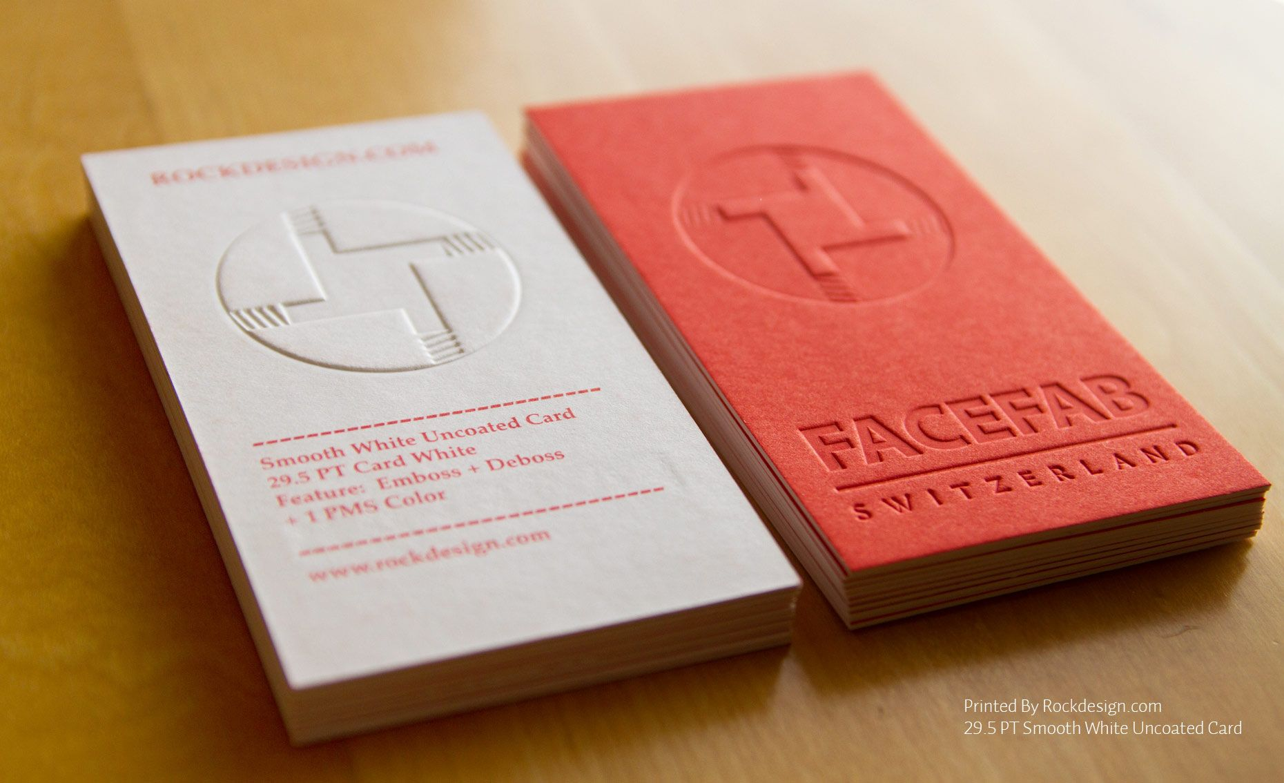 Rockdesign high end business cards smooth white uncoated facefab switzerland emboss business card design examples of creative business card ideas reheart Choice Image