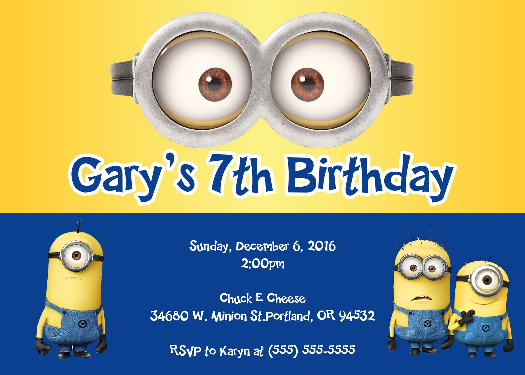 Minions Birthday Invitations Minion Invitation Minion Birthday