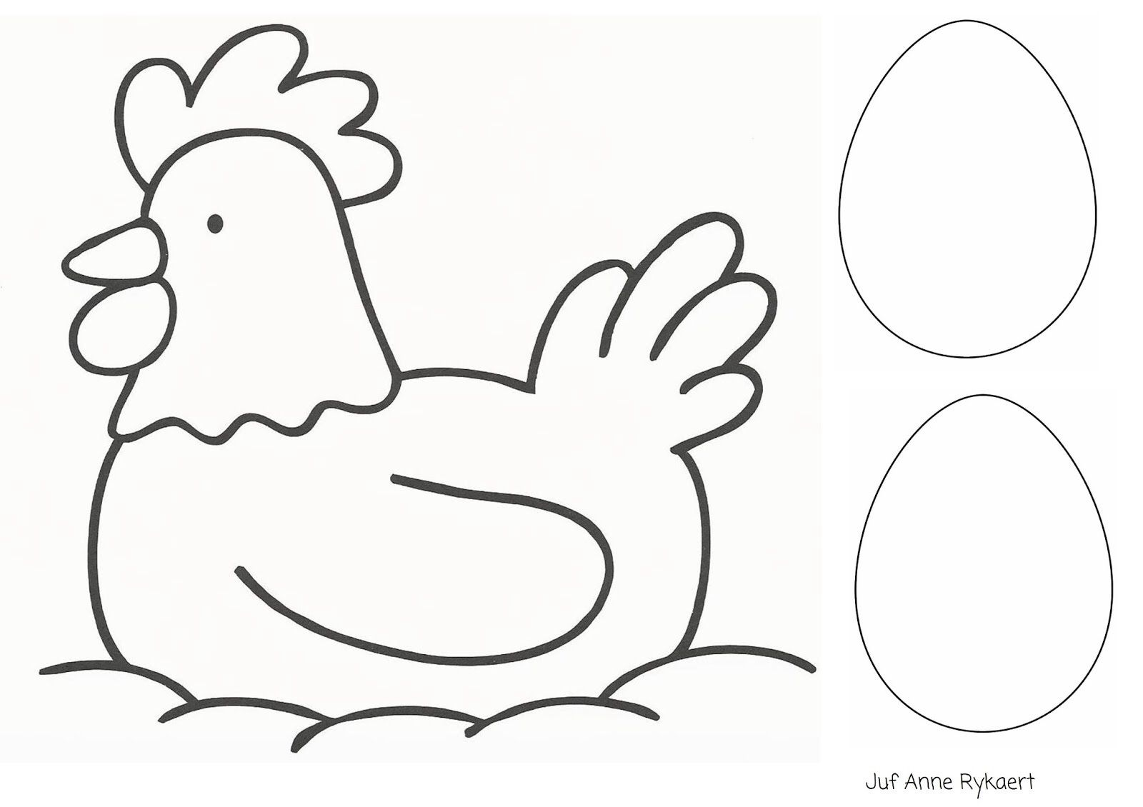 kleurplaat kip en haan