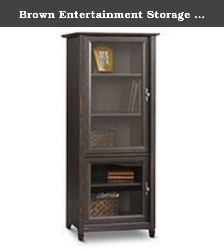 Brown Entertainment Storage Cabinet Tower Vintage Antique Finish Shelves  For Books Stereo Or Tv Components Glass