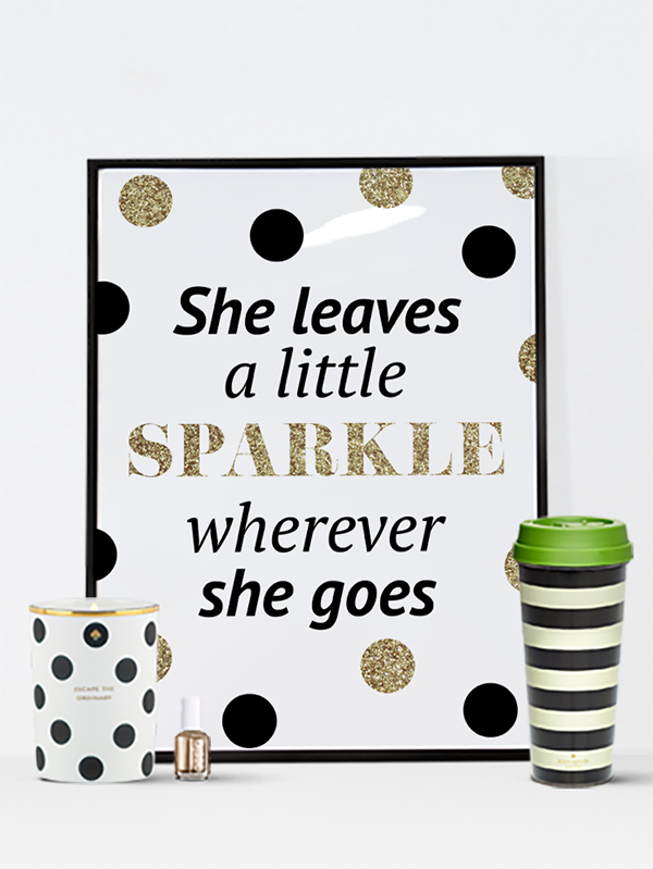 Free Printable She Sprinkles a Little Sparkle Wall Art | Imprimibles ...