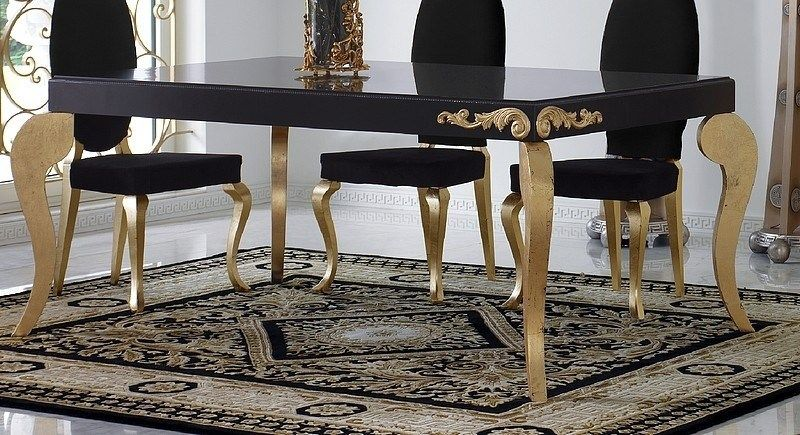 Luxus Carved Black And Gold Leaf Dining Table Gold Dining Black