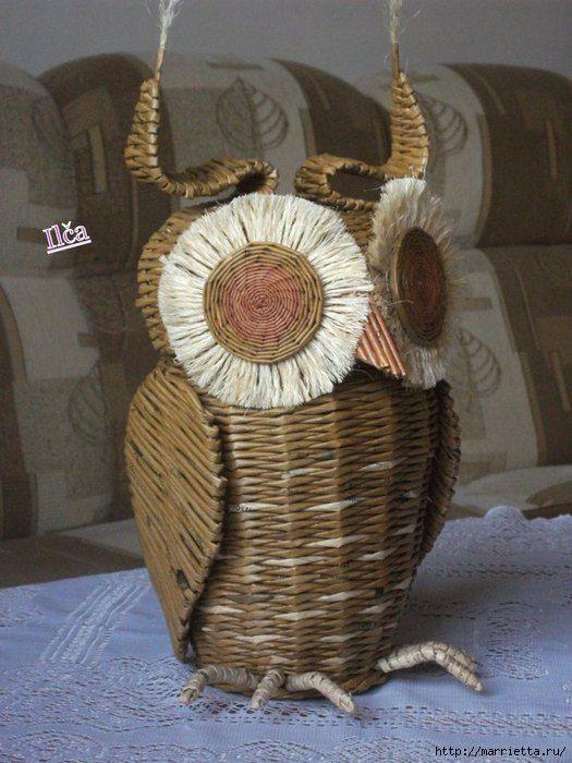 81aac6552 snimek603 (525x700, 187Kb)   Pletenie z papiera,plet.košíkov a pod.    Pinterest   Owl, Owl basket and Paper