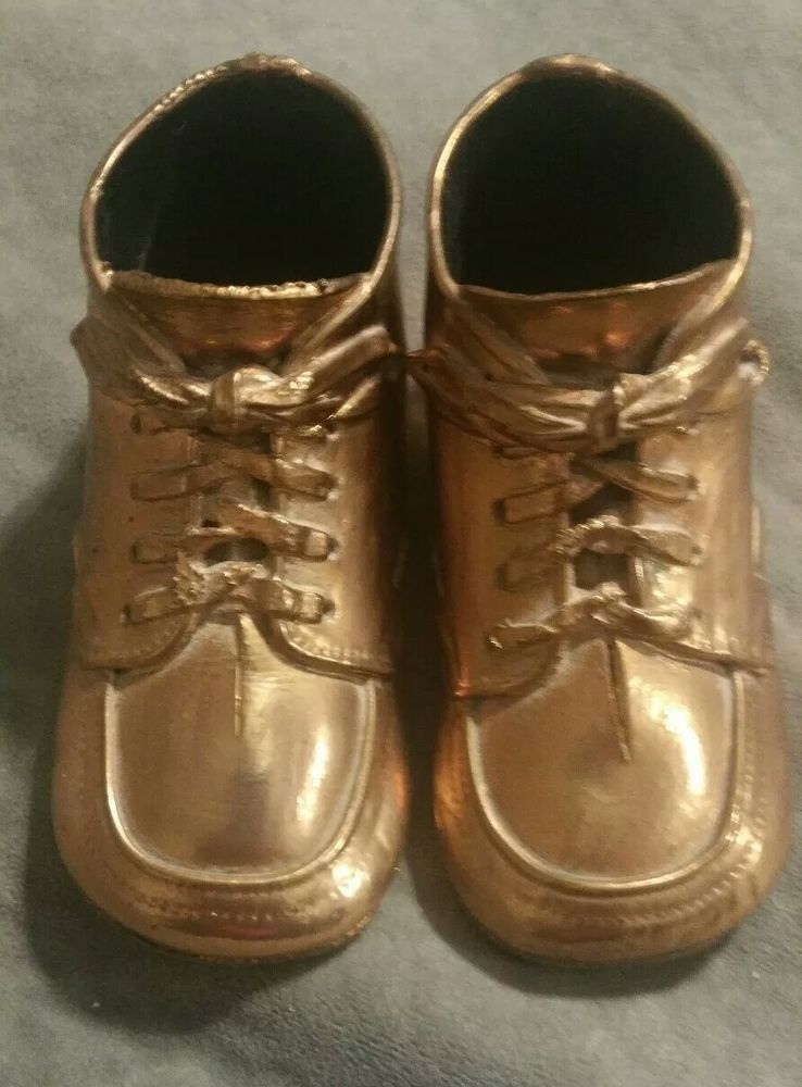 Vintage Bronze Brass Baby Shoes Not