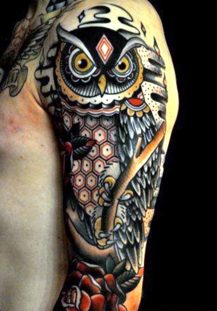Owl Tattoo Sleeve | Traditional owl tattoos, Owl tattoo ...