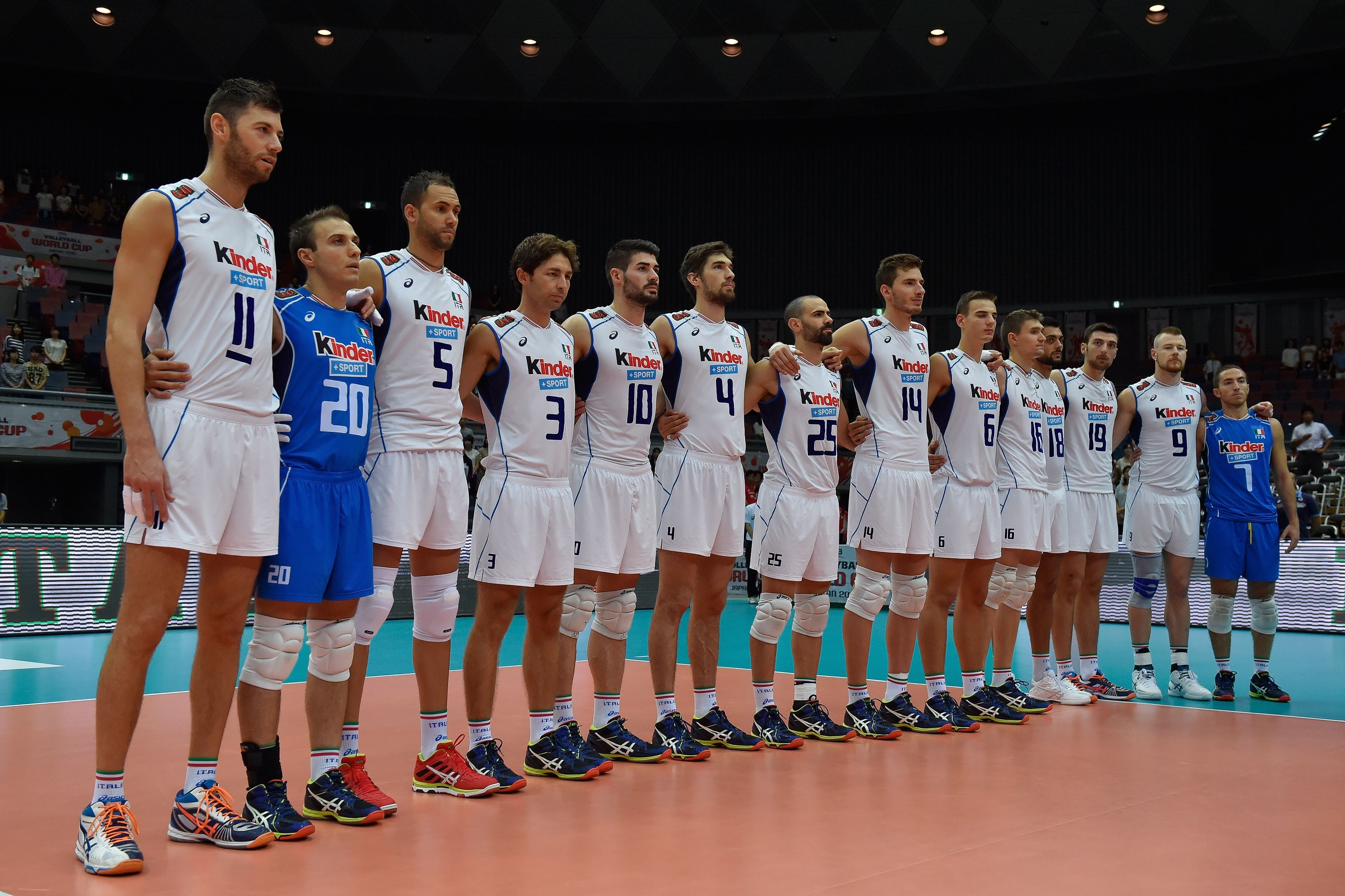 Team Italy Line Up For The National Anthem Before The Match Against Iran Anthem National Anthem Lineup