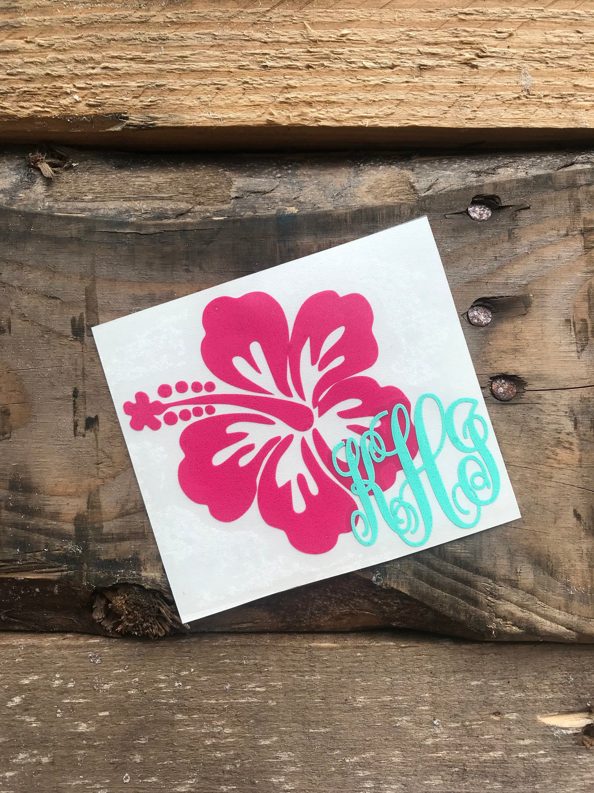 Excited To Share This Item From My Etsy Shop Monogram Hawaiian Flower Vinyl Decal Personalized Beachy Monogra Monogram Stickers Yeti Monogram Monogram Decal [ 3000 x 2250 Pixel ]