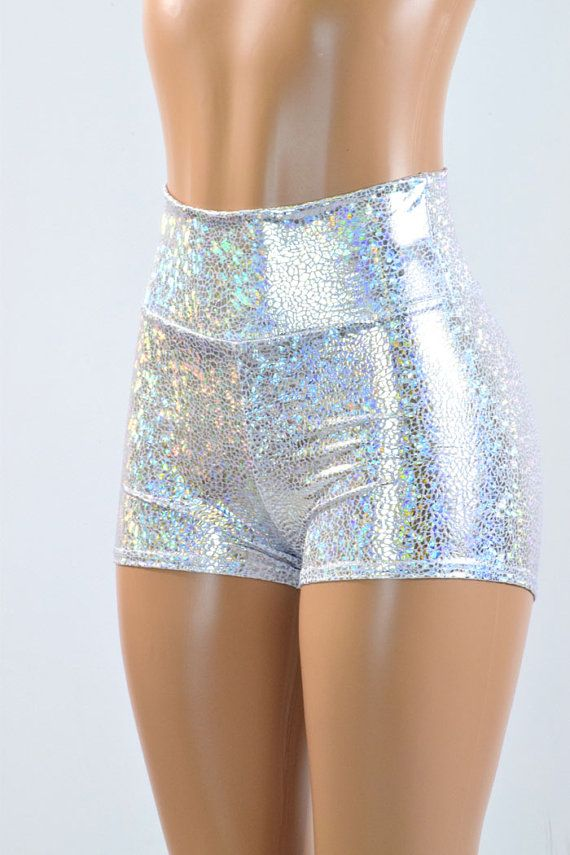 High Waist Silver on White Shattered Glass Holographic Metallic ...